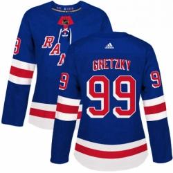 Womens Adidas New York Rangers 99 Wayne Gretzky Authentic Royal Blue Home NHL Jersey