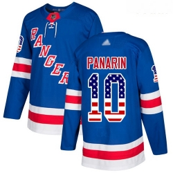 Rangers #10 Artemi Panarin Royal Blue Home Authentic USA Flag Stitched Youth Hockey Jersey