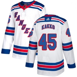 Youth Rangers 45 Kaapo Kakko White Road Authentic Stitched Hockey Jersey
