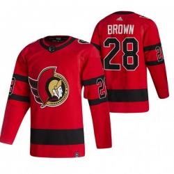 Men Ottawa Senators 28 Connor Brown Red Adidas 2020 21 Reverse Retro Alternate NHL Jersey