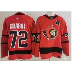 Ottawa Senators 72 Thomas Chabot Red Men Adidas 2020 21 Reverse Retro Alternate NHL Jersey