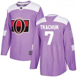 Senators #7 Brady Tkachuk Purple Authentic Fights Cancer Stitched Hockey Jersey