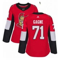 Womens Adidas Ottawa Senators 71 Gabriel Gagne Authentic Red Home NHL Jersey