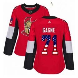 Womens Adidas Ottawa Senators 71 Gabriel Gagne Authentic Red USA Flag Fashion NHL Jersey