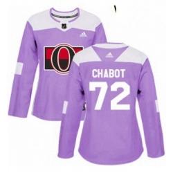 Womens Adidas Ottawa Senators 72 Thomas Chabot Authentic Purple Fights Cancer Practice NHL Jersey
