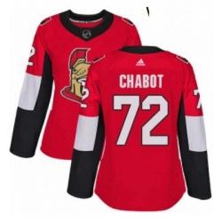 Womens Adidas Ottawa Senators 72 Thomas Chabot Authentic Red Home NHL Jersey