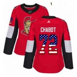 Womens Adidas Ottawa Senators 72 Thomas Chabot Authentic Red USA Flag Fashion NHL Jersey