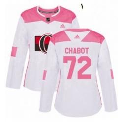 Womens Adidas Ottawa Senators 72 Thomas Chabot Authentic WhitePink Fashion NHL Jersey