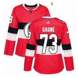 Womens Adidas Ottawa Senators 73 Gabriel Gagne Authentic Red 2017 100 Classic NHL Jersey