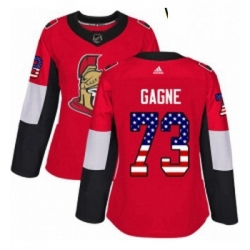 Womens Adidas Ottawa Senators 73 Gabriel Gagne Authentic Red USA Flag Fashion NHL Jersey