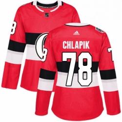 Womens Adidas Ottawa Senators 78 Filip Chlapik Authentic Red 2017 100 Classic NHL Jersey