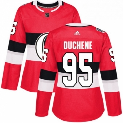 Womens Adidas Ottawa Senators 95 Matt Duchene Authentic Red 2017 100 Classic NHL Jersey