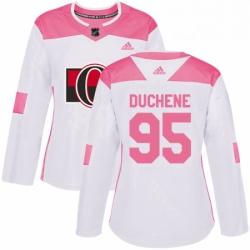 Womens Adidas Ottawa Senators 95 Matt Duchene Authentic WhitePink Fashion NHL Jersey