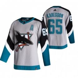 Men San Jose Sharks 65 Erik Karlsson Grey Adidas 2020 21 Reverse Retro Alternate NHL Jersey