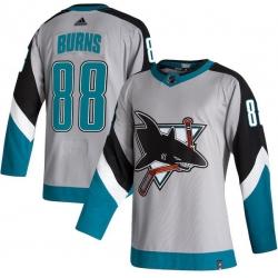 Men San Jose Sharks 88 Brent Burns Gray 2020 21 Reverse Retro Adidas Jersey