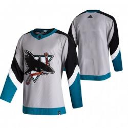 Men San Jose Sharks Blank Grey Adidas 2020 21 Reverse Retro Alternate NHL Jersey