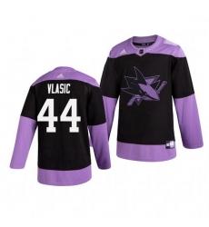 Sharks 44 Marc Edouard Vlasic Black Purple Hockey Fights Cancer Adidas Jersey