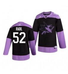 Sharks 52 Lukas Radil Black Purple Hockey Fights Cancer Adidas Jersey