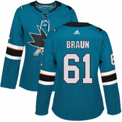 Womens Adidas San Jose Sharks 61 Justin Braun Authentic Teal Green Home NHL Jersey