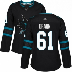 Womens Adidas San Jose Sharks 61 Justin Braun Premier Black Alternate NHL Jersey