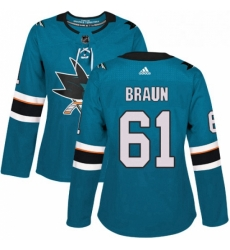 Womens Adidas San Jose Sharks 61 Justin Braun Premier Teal Green Home NHL Jersey