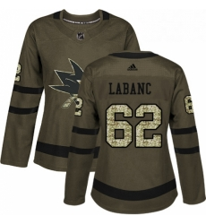 Womens Adidas San Jose Sharks 62 Kevin Labanc Authentic Green Salute to Service NHL Jersey