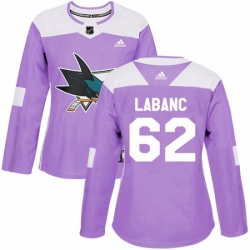 Womens Adidas San Jose Sharks 62 Kevin Labanc Authentic Purple Fights Cancer Practice NHL Jersey