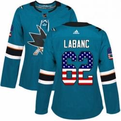 Womens Adidas San Jose Sharks 62 Kevin Labanc Authentic Teal Green USA Flag Fashion NHL Jersey