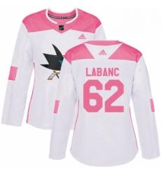 Womens Adidas San Jose Sharks 62 Kevin Labanc Authentic WhitePink Fashion NHL Jersey