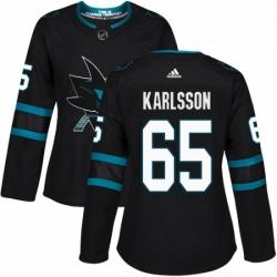 Womens Adidas San Jose Sharks 65 Erik Karlsson Premier Black Alternate NHL Jersey
