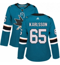 Womens Adidas San Jose Sharks 65 Erik Karlsson Premier Teal Green Home NHL Jersey