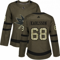 Womens Adidas San Jose Sharks 68 Melker Karlsson Authentic Green Salute to Service NHL Jersey