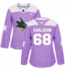 Womens Adidas San Jose Sharks 68 Melker Karlsson Authentic Purple Fights Cancer Practice NHL Jersey