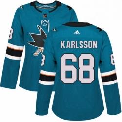 Womens Adidas San Jose Sharks 68 Melker Karlsson Authentic Teal Green Home NHL Jersey