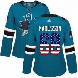 Womens Adidas San Jose Sharks 68 Melker Karlsson Authentic Teal Green USA Flag Fashion NHL Jersey