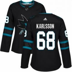 Womens Adidas San Jose Sharks 68 Melker Karlsson Premier Black Alternate NHL Jersey