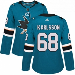 Womens Adidas San Jose Sharks 68 Melker Karlsson Premier Teal Green Home NHL Jersey