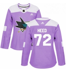 Womens Adidas San Jose Sharks 72 Tim Heed Authentic Purple Fights Cancer Practice NHL Jersey
