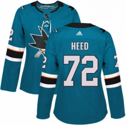 Womens Adidas San Jose Sharks 72 Tim Heed Authentic Teal Green Home NHL Jersey