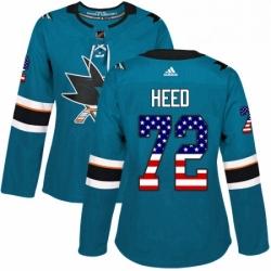 Womens Adidas San Jose Sharks 72 Tim Heed Authentic Teal Green USA Flag Fashion NHL Jersey