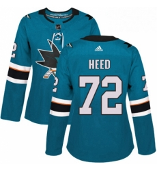 Womens Adidas San Jose Sharks 72 Tim Heed Premier Teal Green Home NHL Jersey