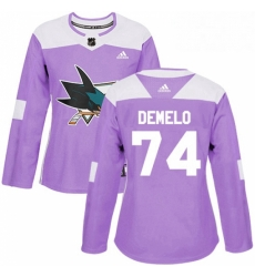 Womens Adidas San Jose Sharks 74 Dylan DeMelo Authentic Purple Fights Cancer Practice NHL Jersey