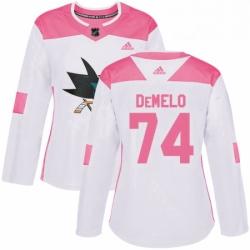 Womens Adidas San Jose Sharks 74 Dylan DeMelo Authentic WhitePink Fashion NHL Jersey