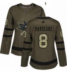 Womens Adidas San Jose Sharks 8 Joe Pavelski Authentic Green Salute to Service NHL Jersey
