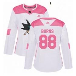 Womens Adidas San Jose Sharks 88 Brent Burns Authentic WhitePink Fashion NHL Jersey