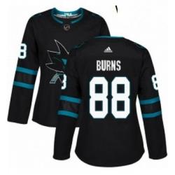 Womens Adidas San Jose Sharks 88 Brent Burns Premier Black Alternate NHL Jersey