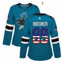 Womens Adidas San Jose Sharks 89 Mikkel Boedker Authentic Teal Green USA Flag Fashion NHL Jersey