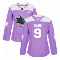 Womens Adidas San Jose Sharks 9 Evander Kane Authentic Purple Fights Cancer Practice NHL Jerse