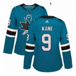 Womens Adidas San Jose Sharks 9 Evander Kane Authentic Teal Green Home NHL Jerse