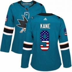 Womens Adidas San Jose Sharks 9 Evander Kane Authentic Teal Green USA Flag Fashion NHL Jersey